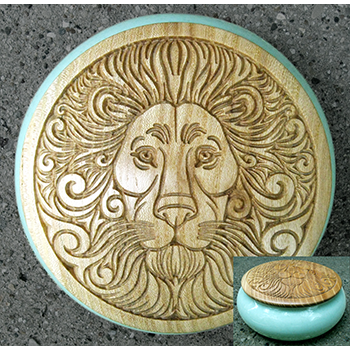 carved lion wood lid covered pot